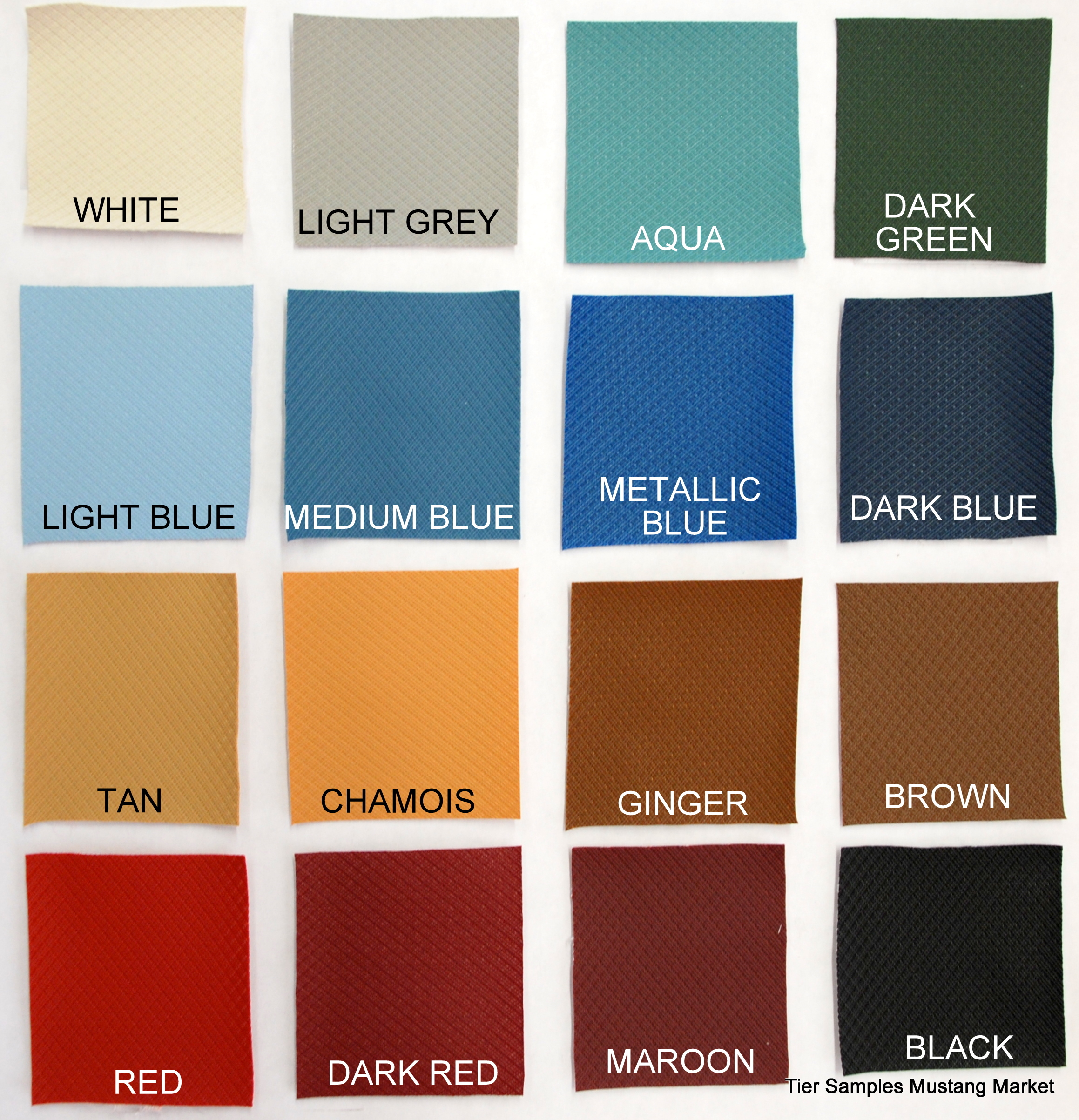 1963 1964 1966 galaxie fairlane mustang headliner tier colors sample chart nvjuhfo Choice Image